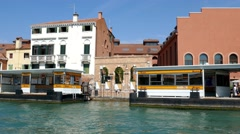 Smooth camera movement from inside water, canals of Venice viewing architecture Stock Footage