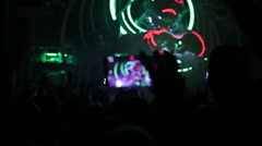 The electronic music festival. A crowd of fans Stock Footage