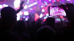 Music festival video recording with smart phone Stock Footage