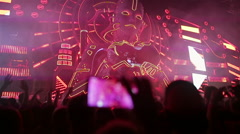 Main stage music festival. DJs play music Stock Footage