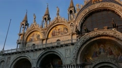 A Pan over details of golden paintings of Basilica di San Marco cathedral church Stock Footage