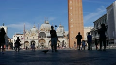 Moving time lapse tourists visiting San Marco square, taking photos, selfie Stock Footage