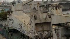 Industrial boat on river Dnieper in Kiev, Ukraine Stock Footage