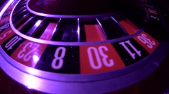 Roulette wheel loop rotation. Zero. Close up Stock Footage