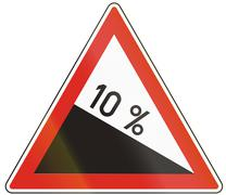 Hungarian warning road sign - Steep hill downward Stock Illustration