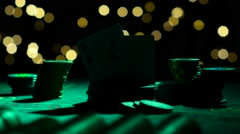 Combination of poker. Pair of aces. Close up. Backlight Stock Footage