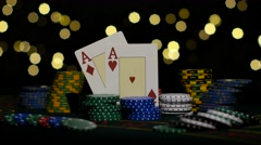 Good card combination, two aces, chance to win. Close up Stock Footage