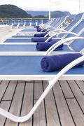 Leisure - Lounge Chairs on Deck of Cruise Ship Stock Photos