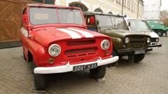 Armoured cars outside Chernobyl museum in Kiev Ukraine Stock Footage