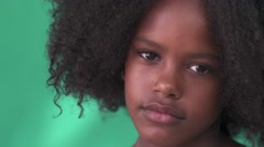 29 Sad Black Girl Cute Hispanic Child With Afro Hair Stock Footage