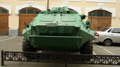 Armoured car on display outside Chernobyl museum in Kiev, Ukraine Stock Footage