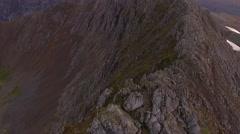 Tilting aerial view of Crib Goch in Snowdonia. Stock Footage