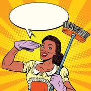 Beautiful woman cleaner with brush for floors Stock Illustration