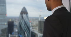 4K Close up portrait ambitious businessman in London city office Stock Footage