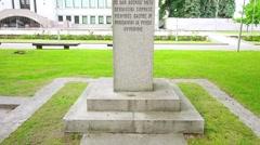 Monument of Petras Vileisis, Kaunas, Lithuania Stock Footage