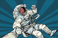 Woman astronaut African American gesture OK Stock Illustration