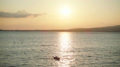 Black Sea bay and sunset, slow motion Stock Footage