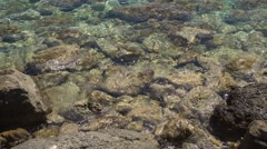 Close-up video footage of the mediterranean sea with sound of  the breakers Stock Footage