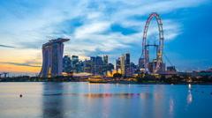 Singapore city skyline day to night timelapse, Singapore HD 4k Time lapse Stock Footage