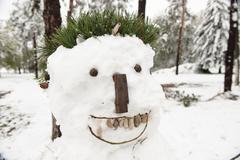 Bad ugly white snowman Stock Photos