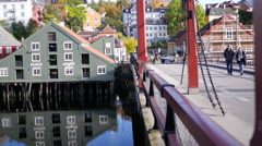 Old Town Bridge and Colorful Wharf Houses in Trondheim, Norway Stock Footage
