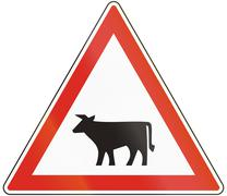 Hungarian warning road sign - Livestock crossing Stock Illustration