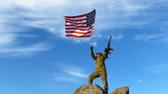 American soldier waving flag of USA outdoors, above blue sky. Slow motion. Stock Footage