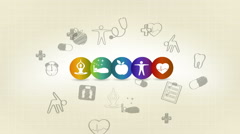 Hand drawn Healthy living symbols Stock Footage