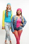 Diverse nation girls group, teenage friends company cheerful having fun, happy Stock Photos