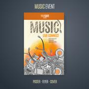 Vector template for a concert poster or a flyer featuring an music event Stock Illustration