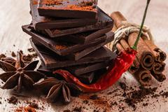 Chili Pepper with Chocolate and other Condiment Stock Photos
