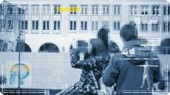 Taking photo - interface - digital  scan - blue - HD Stock Footage