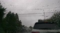 Raindrops on windshield Stock Footage