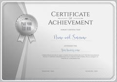 Certificate template for achievement, appreciation or completion in silver th Stock Illustration