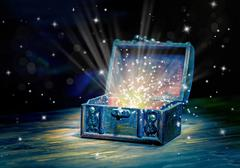 Close up concept greeting card of opened vintage chest treasure with mystical Kuvituskuvat