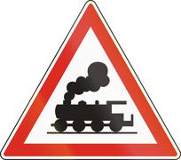 Hungarian warning road sign - Level crossing without barrier or gates ahead Piirros