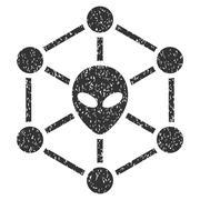 Alien Network Grainy Texture Icon Stock Illustration