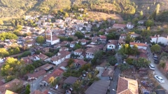 Historical White Houses, Sirince Village, Izmir Turkey. Aerial view drone shot. Arkistovideo