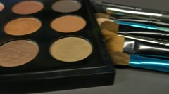 Footage of a make-up palette, the shot is moving from one side to the other Stock Footage