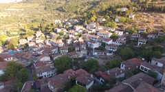 Historical White Houses, Sirince Village, Izmir Turkey. Aerial view drone shot. Stock Footage