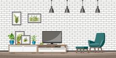 Illustration of interior equipment of a modern living room Stock Illustration