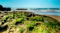 Green Rock Beach Timelapse 4k Stock Footage