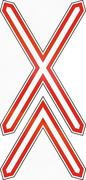Hungarian warning road sign - Level crossing with multiple tracks Piirros