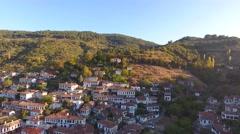 Historical White Houses, Sirince Village, Izmir Turkey. Aerial view drone shot. Stock Footage