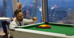 4k, Businessman setting up the balls for snooker. Stock Footage