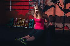 Woman doing aerobics Stock Photos