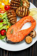 Crispy roasted salmon steak Stock Photos