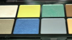 A moving shot showing a professional make-up palette Stock Footage
