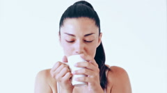 Portrait of happy woman without makeup drinking coffee Stock Footage