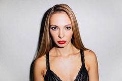 Female in black bra Stock Photos